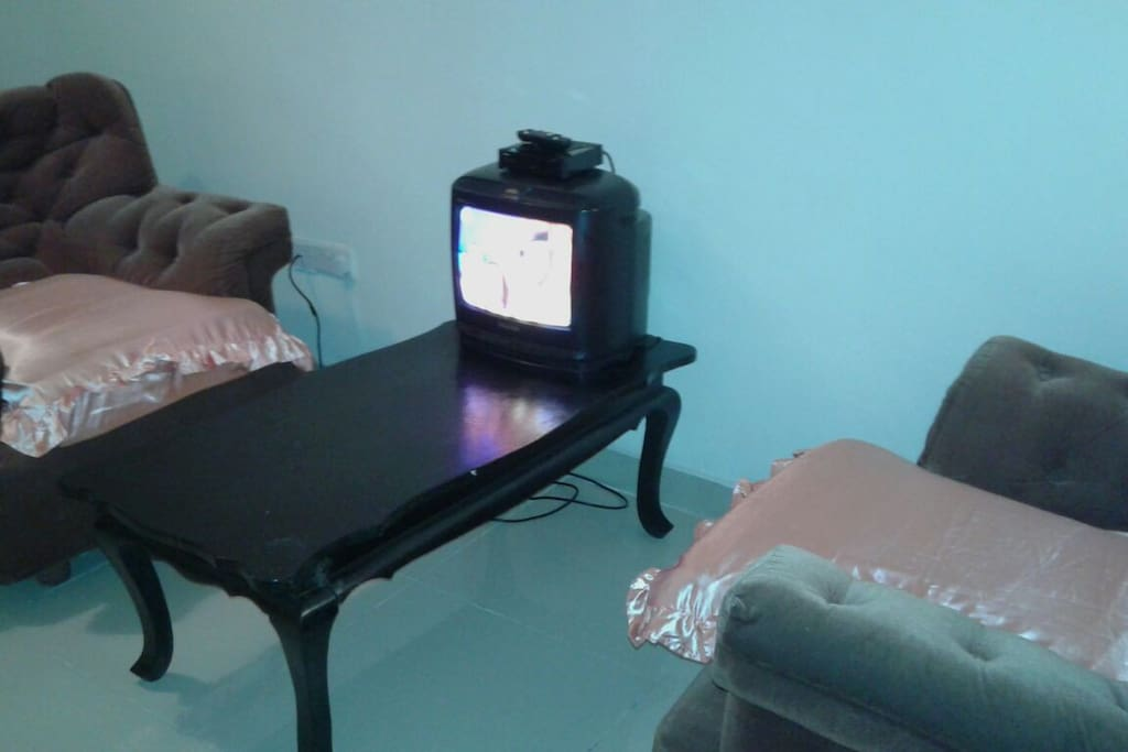 sitting area with clear tv with cable channels plus WiFi.