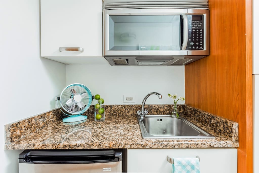 Features a kitchenette, small fridge and microwave