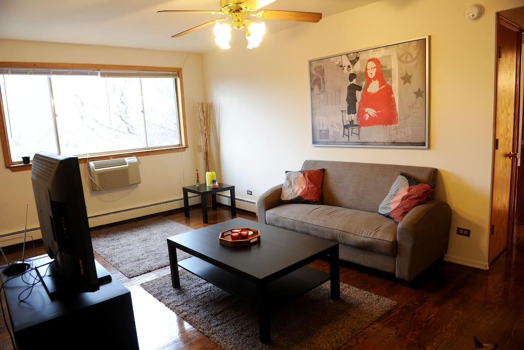Our cozy living room is a great place to hang out.