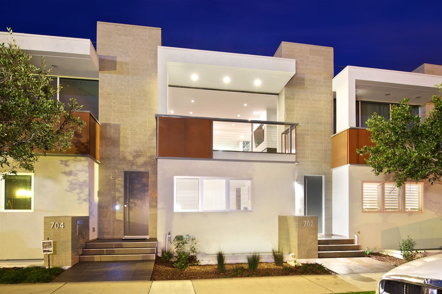 Modern architecture with beautiful views from main living area and rooftop deck.
