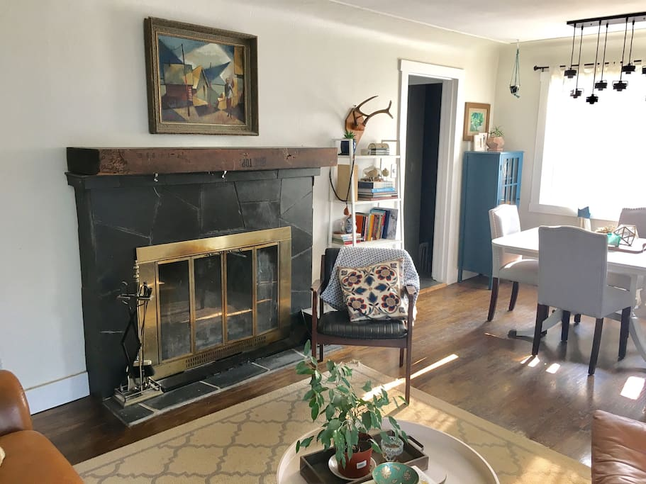 Fireplace in living/dining room