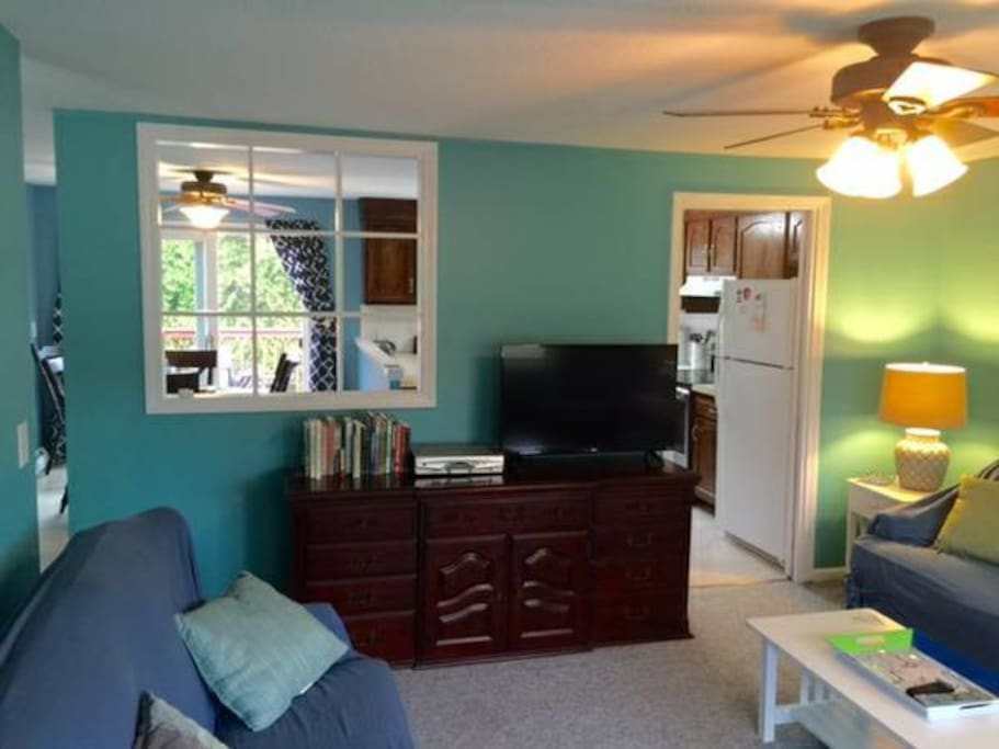 """Living room with 46"""" LED TV and full cable package"""