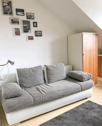 Gemütliches Wohnzimmer mit ausziehbarem Schlafsofa, Schreibtisch und Kleiderschrank