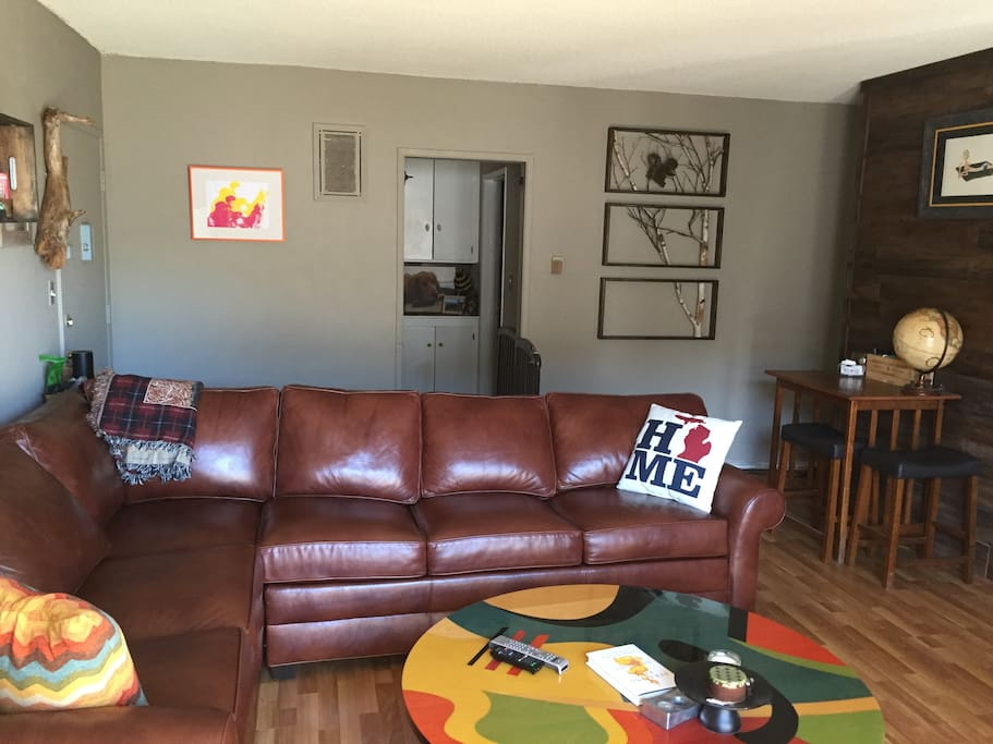 Big comfy leather ethan allen couch