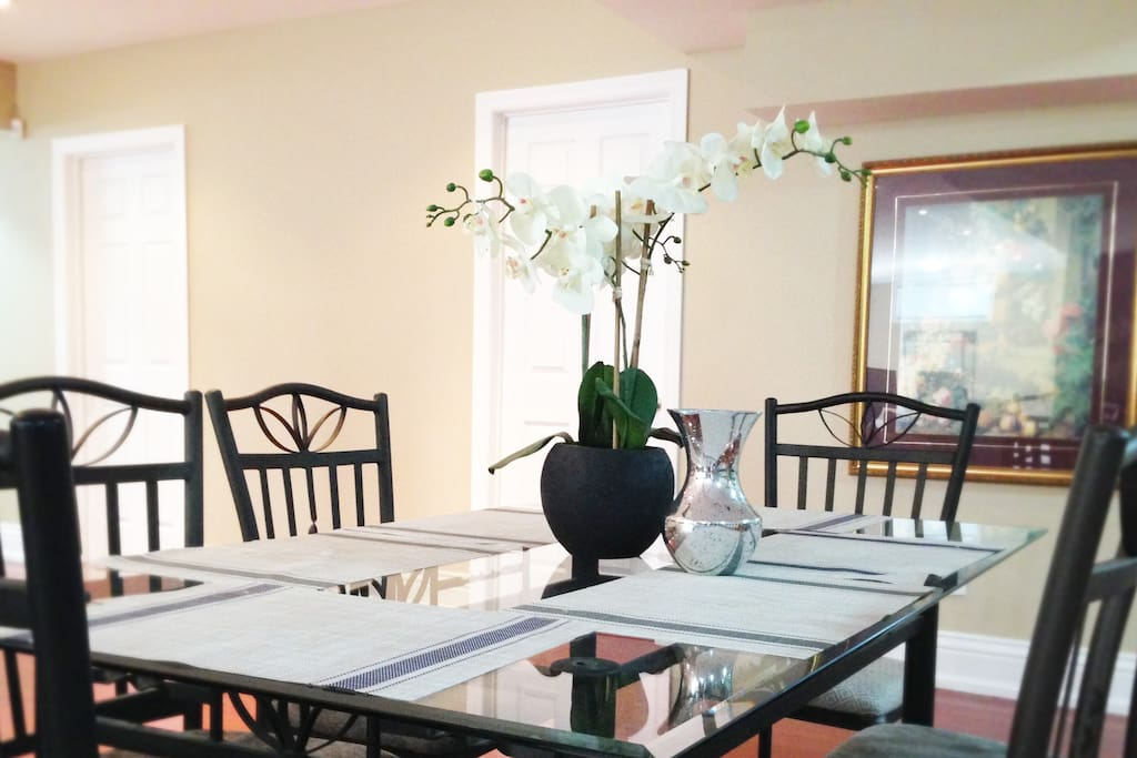 Dining table in the shared common area