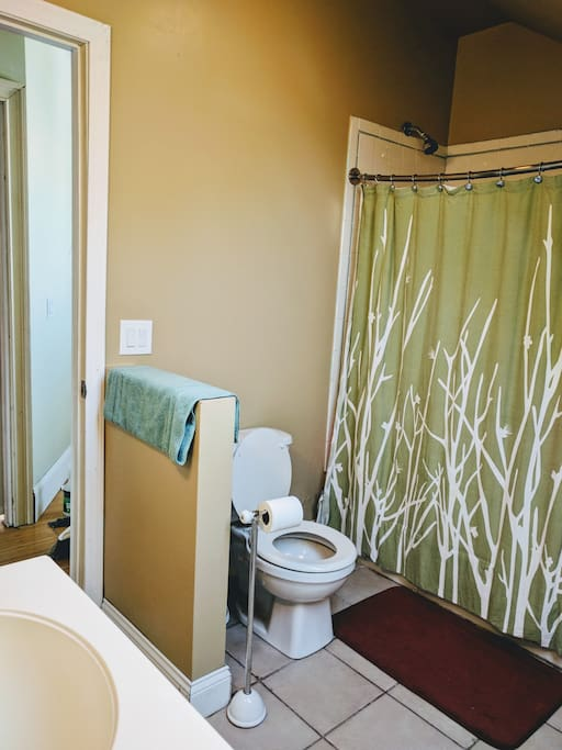 Bathroom shared between two rooms. A half bath available downstairs.