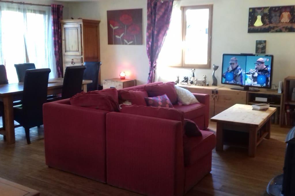 La pièce à vivre: Tv (canalsat), Lecteur DVD, canapé convertible, table 6 à 8 personnes