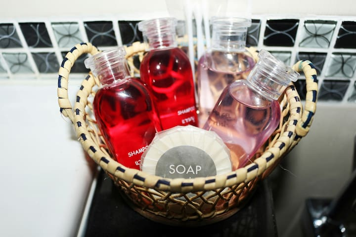 Free Shampoo, shower gel and soap