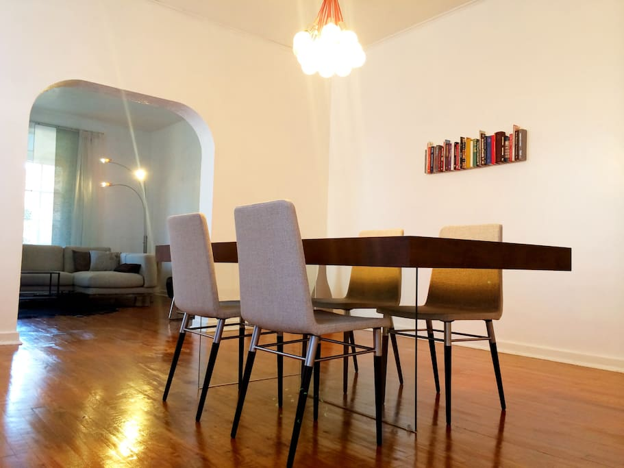 A large dining room sits adjacent to the living room, providing a great place for gatherings