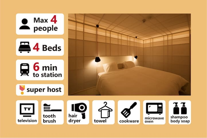 [N2] Japanese Shoji Paper Apartment for 4 Guests