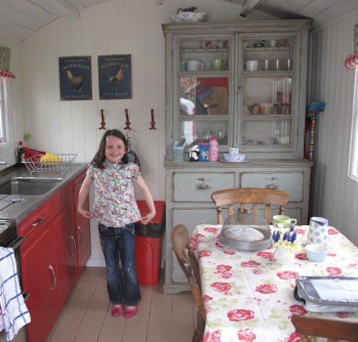 You have your very own provate shepherds hut with kitchen/diner and bathroom