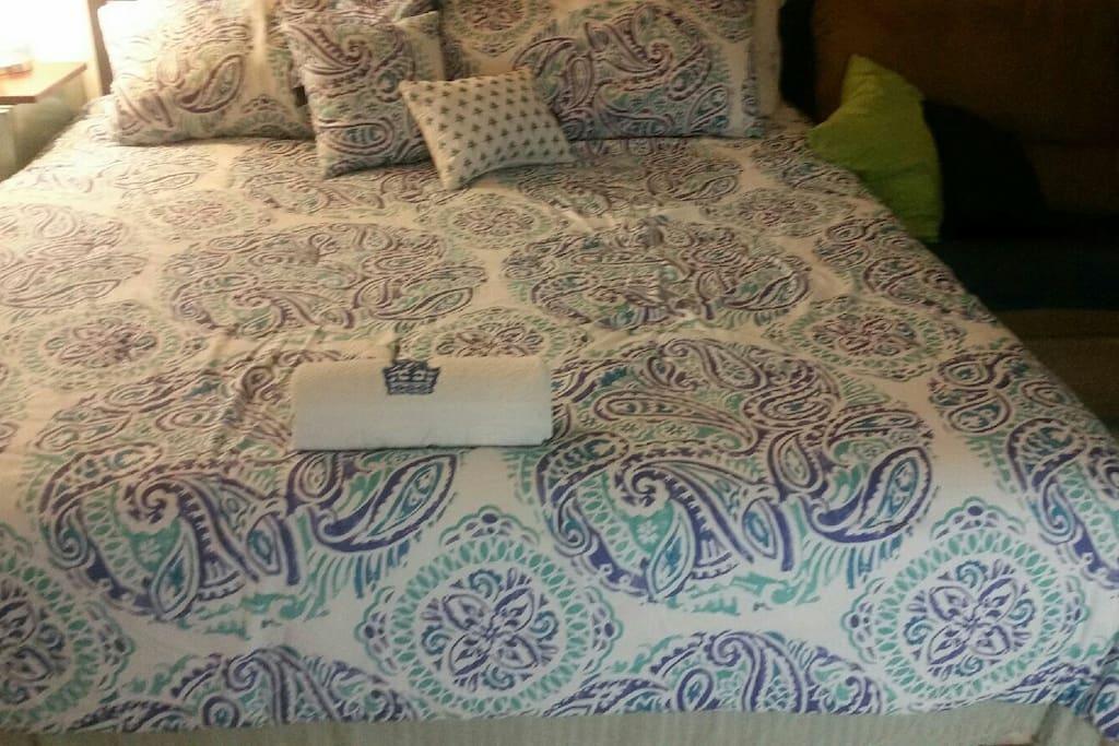 King size plush bed