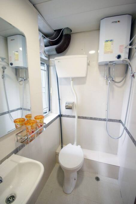 Toilet outside of room