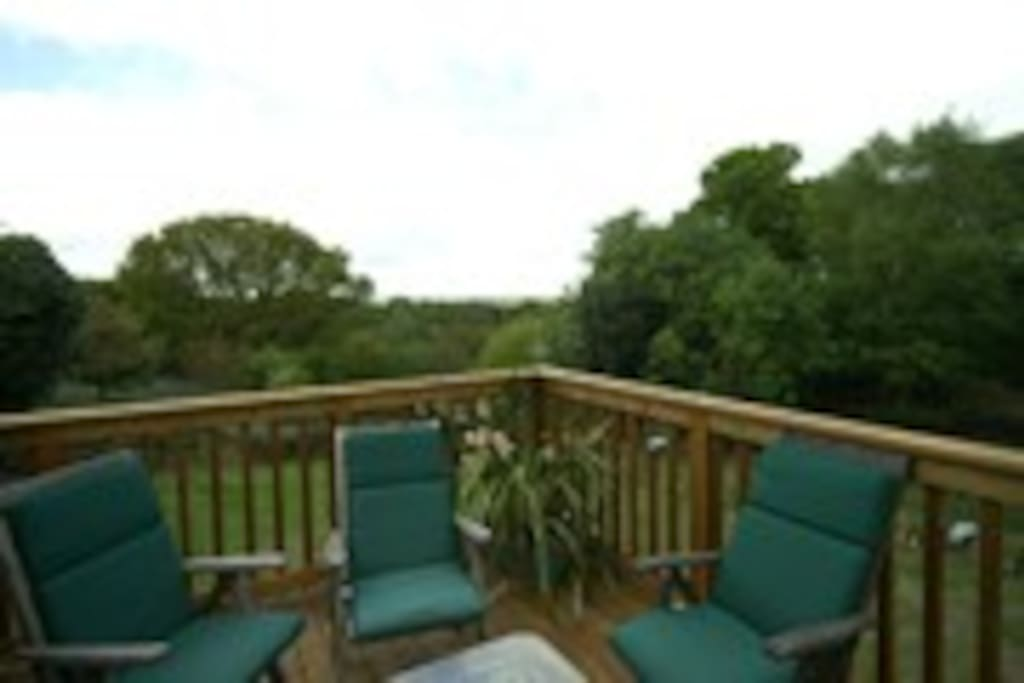 Enclosed decking area with stunning views over the Stour Valley