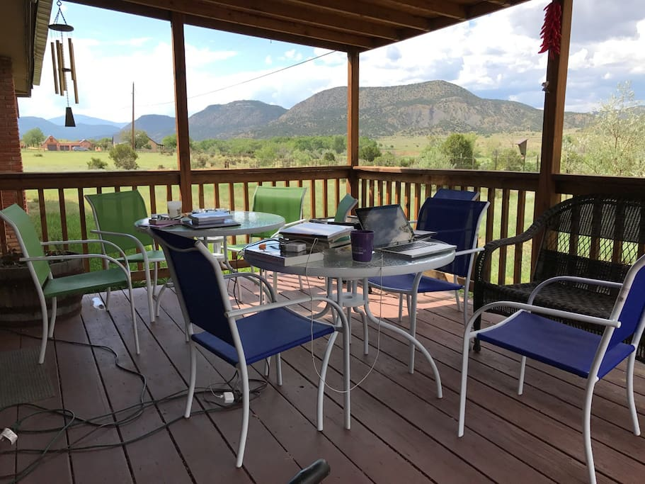 Our back patio is a great place for breakfast, telecommuting, or spending a lazy afternoon watching the wildlife.
