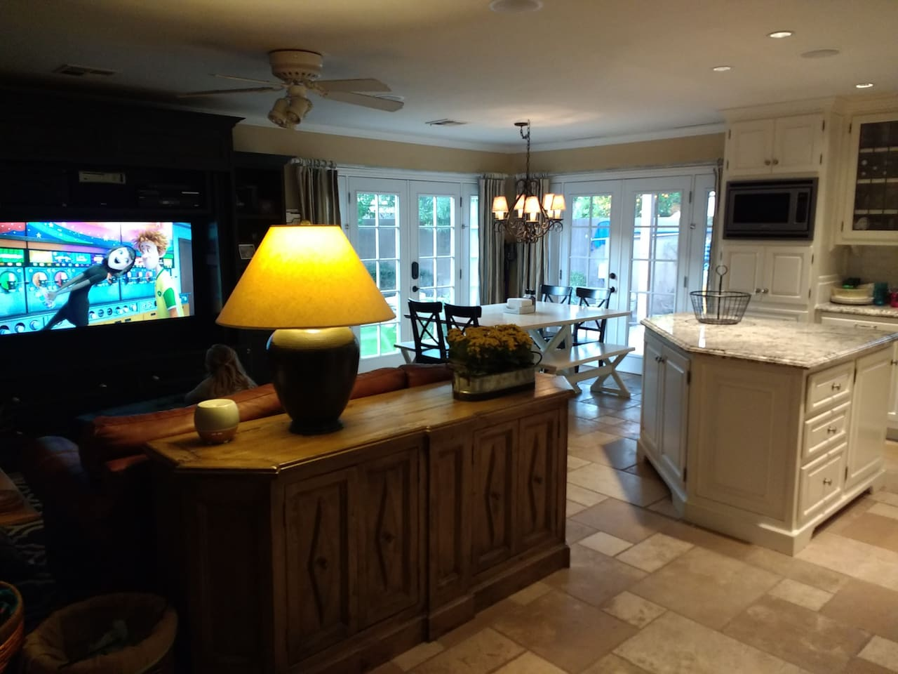 Family Room, Dining Room and Kitchen