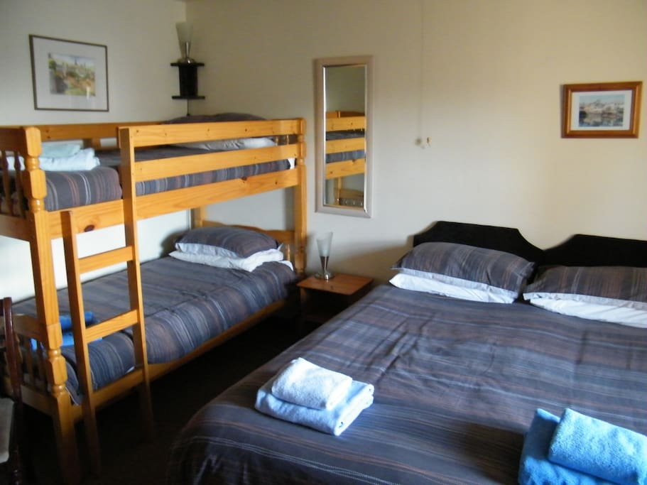 Room 4 with the main beds set up as a double, but they can be separated to twin beds