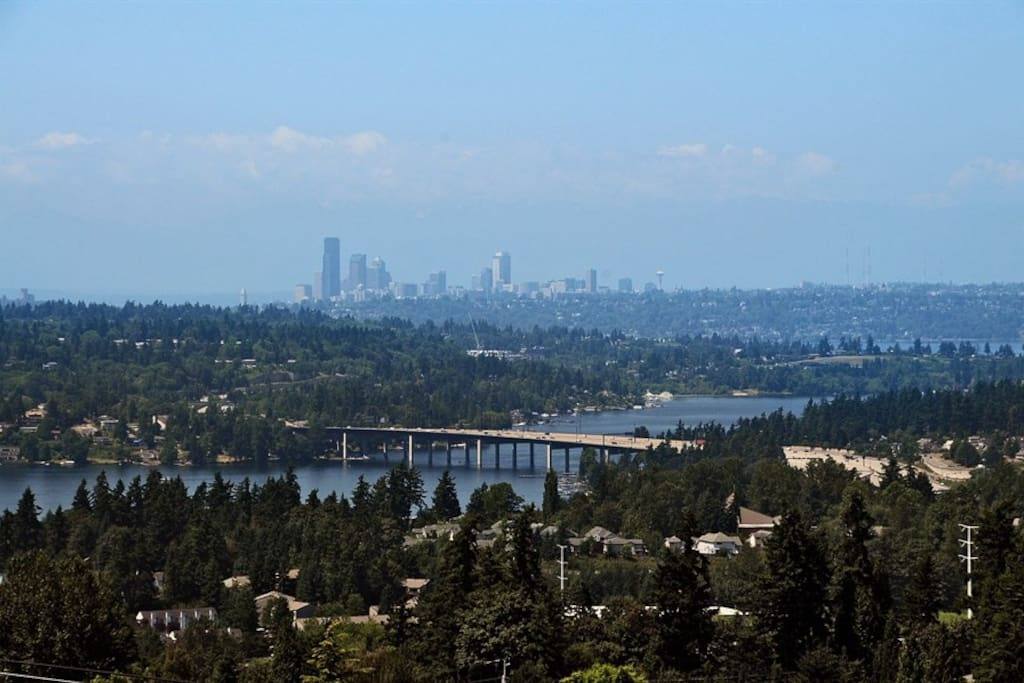 Lake Washington and downtown Seattle view from the house