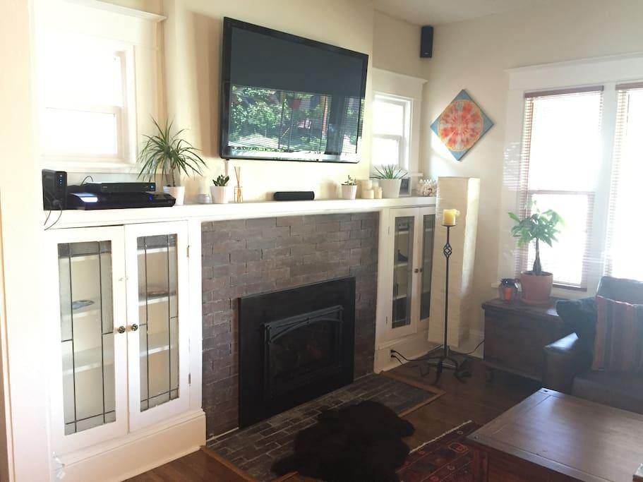 """56"""" Plasma TV/Gas Fireplace"""