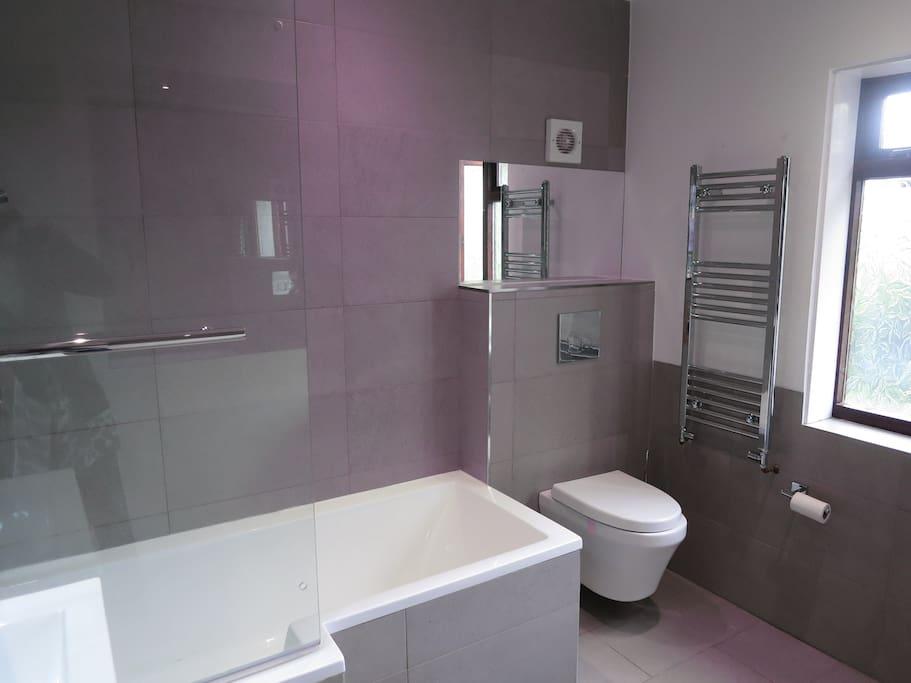 The brand new upstairs bathroom