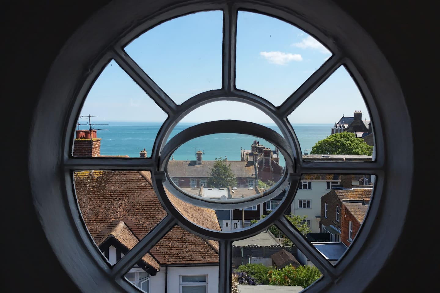The round window in the attic with a 180 degree view of the sea