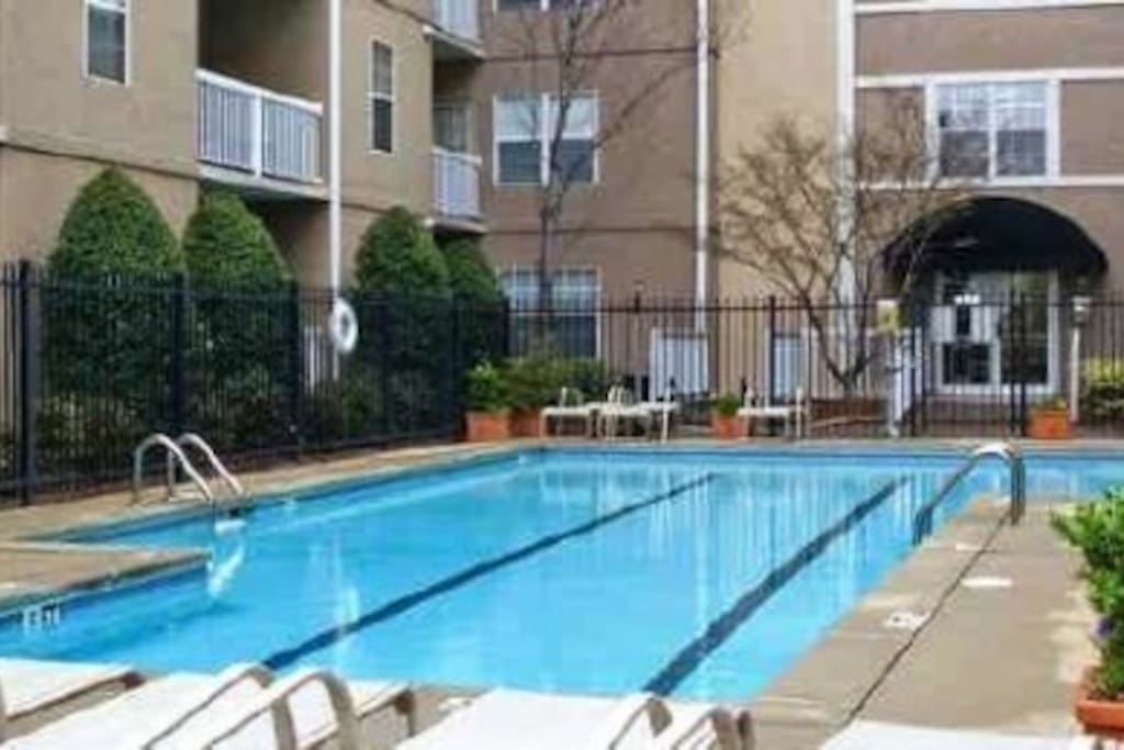 enjoy the pool on a hot summer day