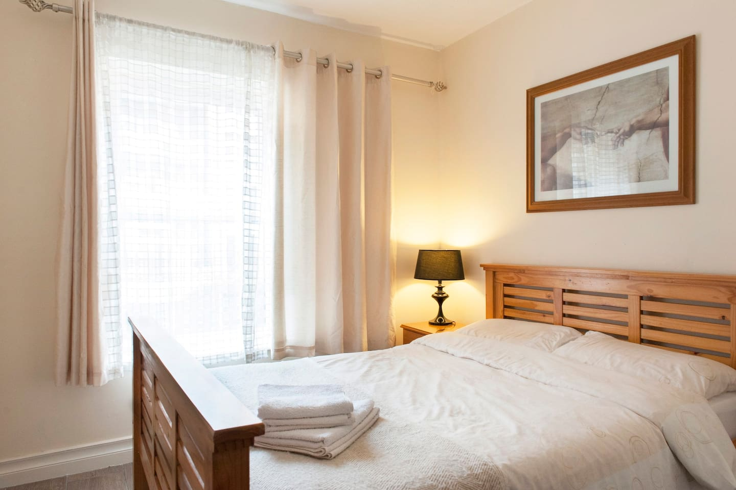 Double bed in bedroom makes your stay comfortable.
