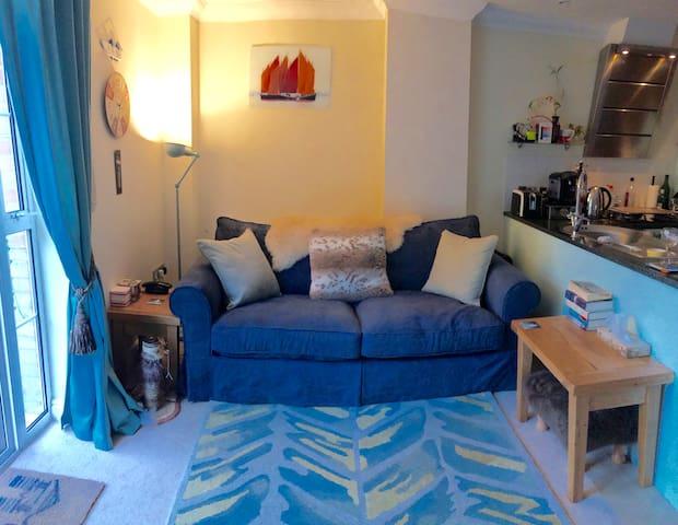 En-suite room in lovely garden apartment nr beach - Sandown - Lejlighed