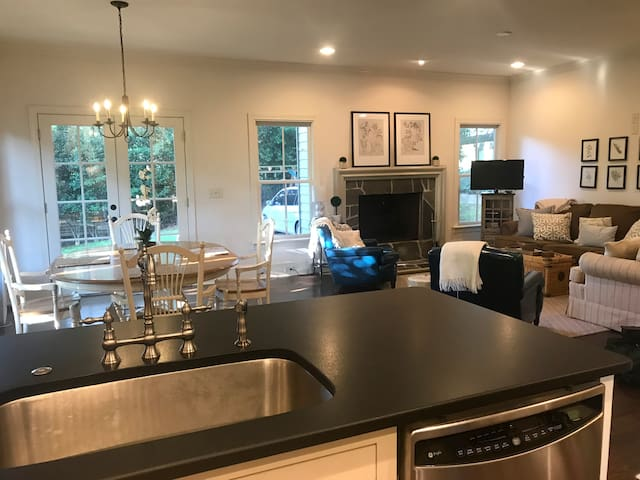 Open floor plan--kitchen, dining area, and living room combined.