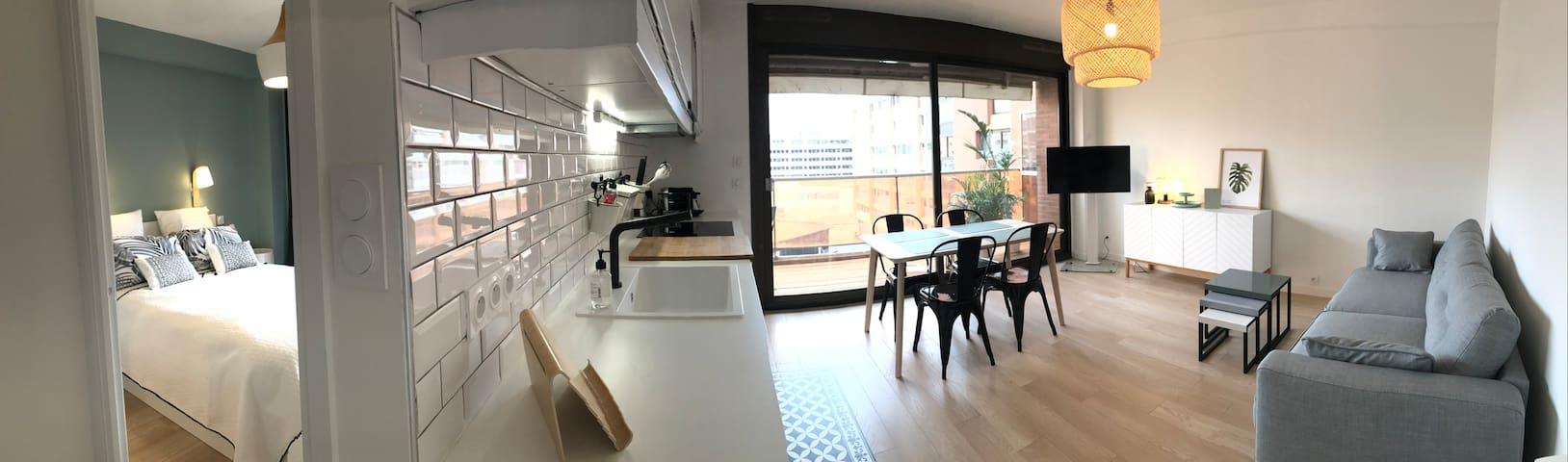 Hyper-centre, T2 rénové charme, terrasse + parking - Toulouse - Appartement