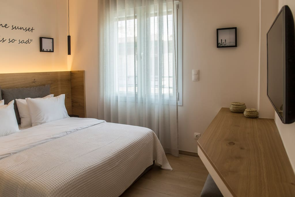 High-end bedrooms, each one of them with personalized decoration, great furniture, comfortable mattress, flat screen smart TV, A/C, safe for laptop inside the closet.