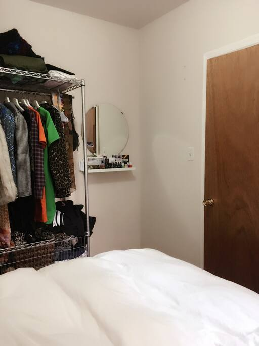 Spacious wire clothes rack- all personal items such as clothes etc will be removed