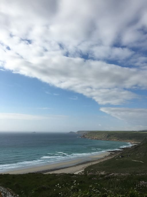 Sennen beach from the top of the hill