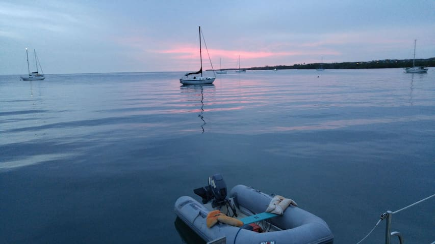 Our inflatable dinghy which we use to get you on land to our sailboat and back.