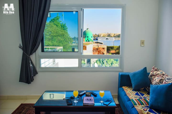 Enjoy the Nile view from the living room