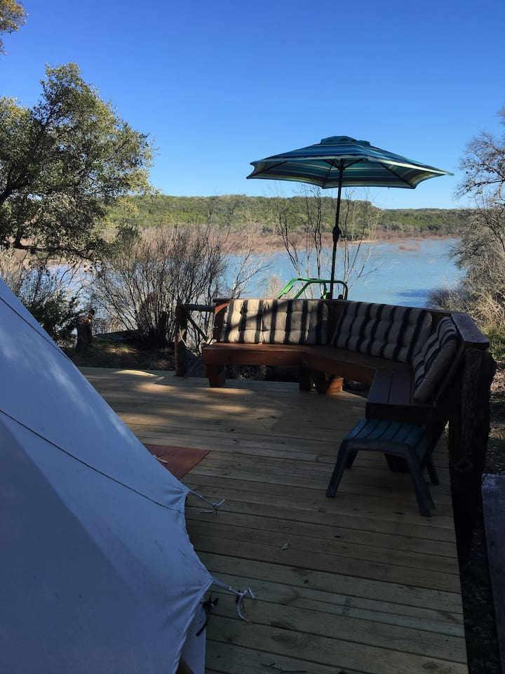 The view to the water from the side of the Tee Pee