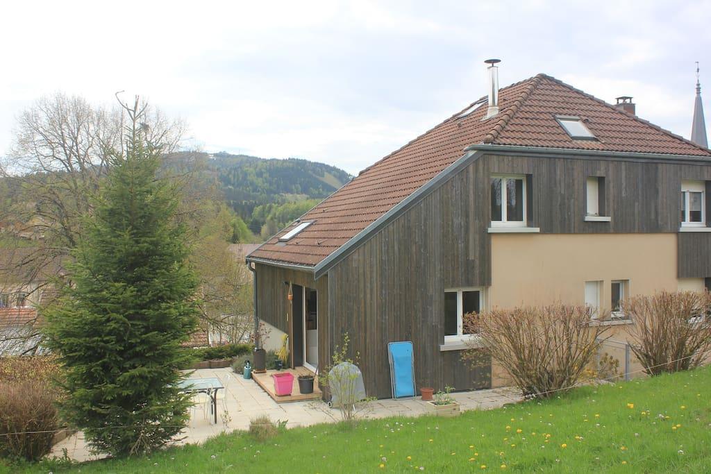 Maison depuis le champs