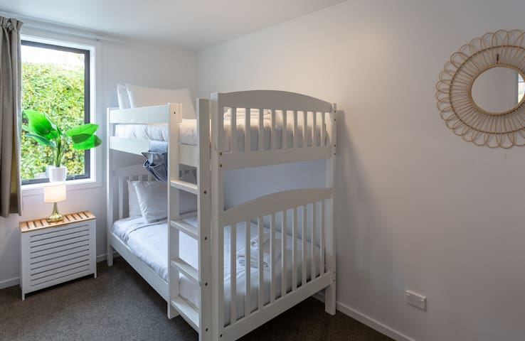 Second bedroom with a bunkbed. Cot available for babies/small children