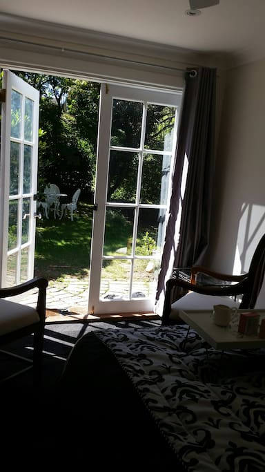 Looking through the French Doors to the garden