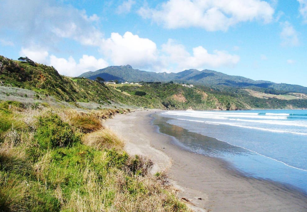 We are located almost as close as you can get to the beautiful tranquil Raglan Beach