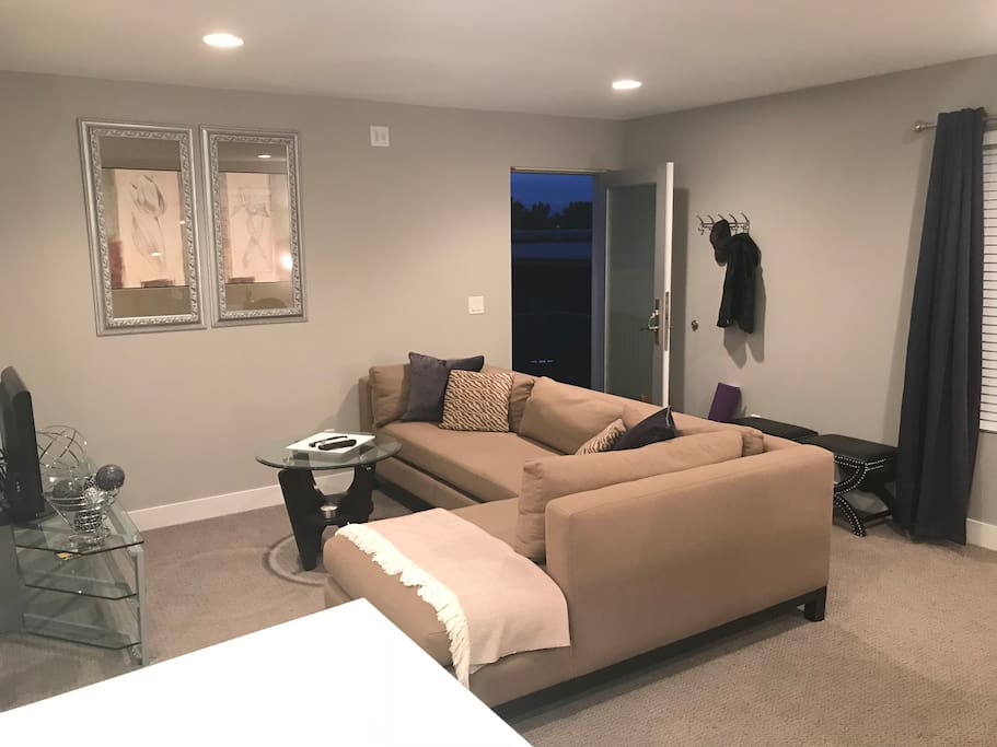 Private entry to balcony with views.  Comfy seating area with cable TV.