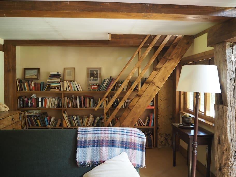 Staircase to mezzanine bedroom.