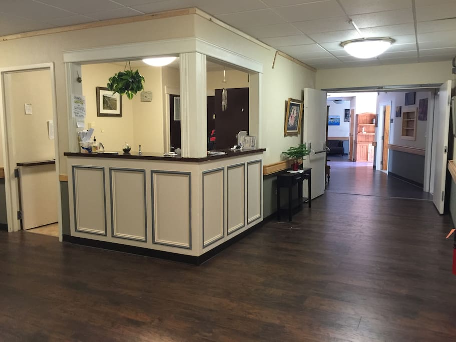 Front desk and side hall