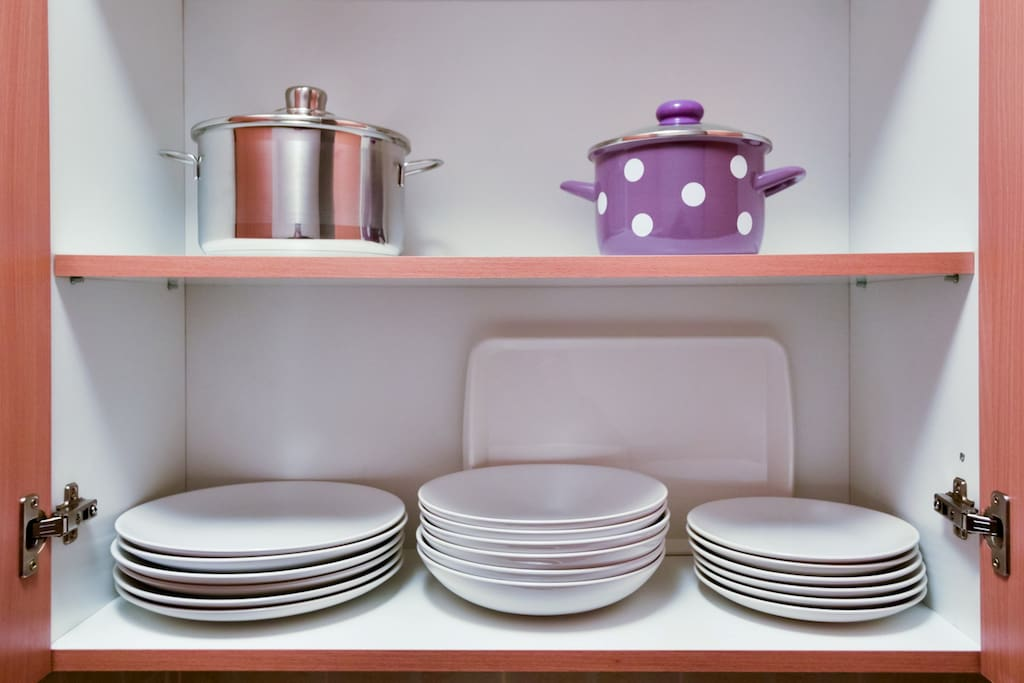 Dishes in Kitchen Apartment Boska Subotica