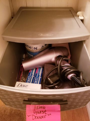 Guest Bathroom: Extra Toothbrushes, Toothpaste, Soap, Washcloth's, etc... and Guest bathroom storage