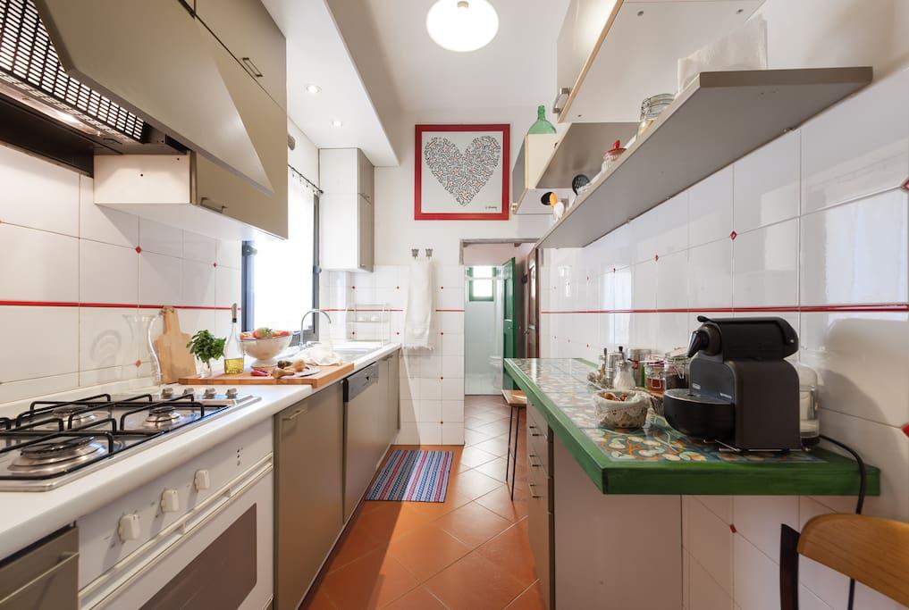 The Nespresso machine and the tea corner inside the kitchen