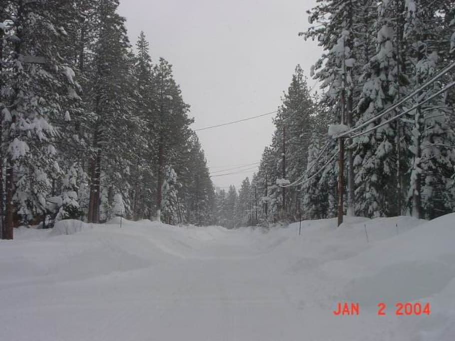 Our street in the winter. It is plowed every day it snows