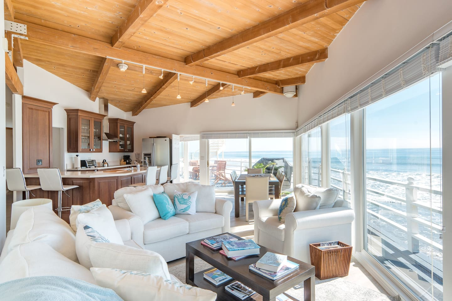 Bright living room with stunning ocean views