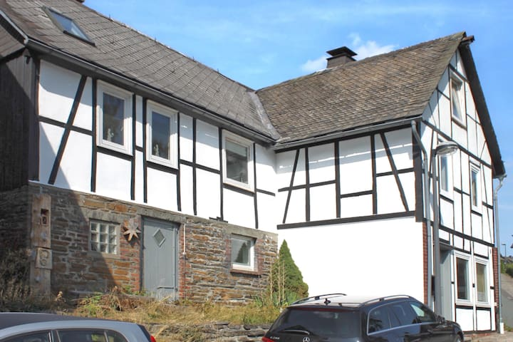 Large, detached half-timbered house with a wood stove in Winterberg-Züschen