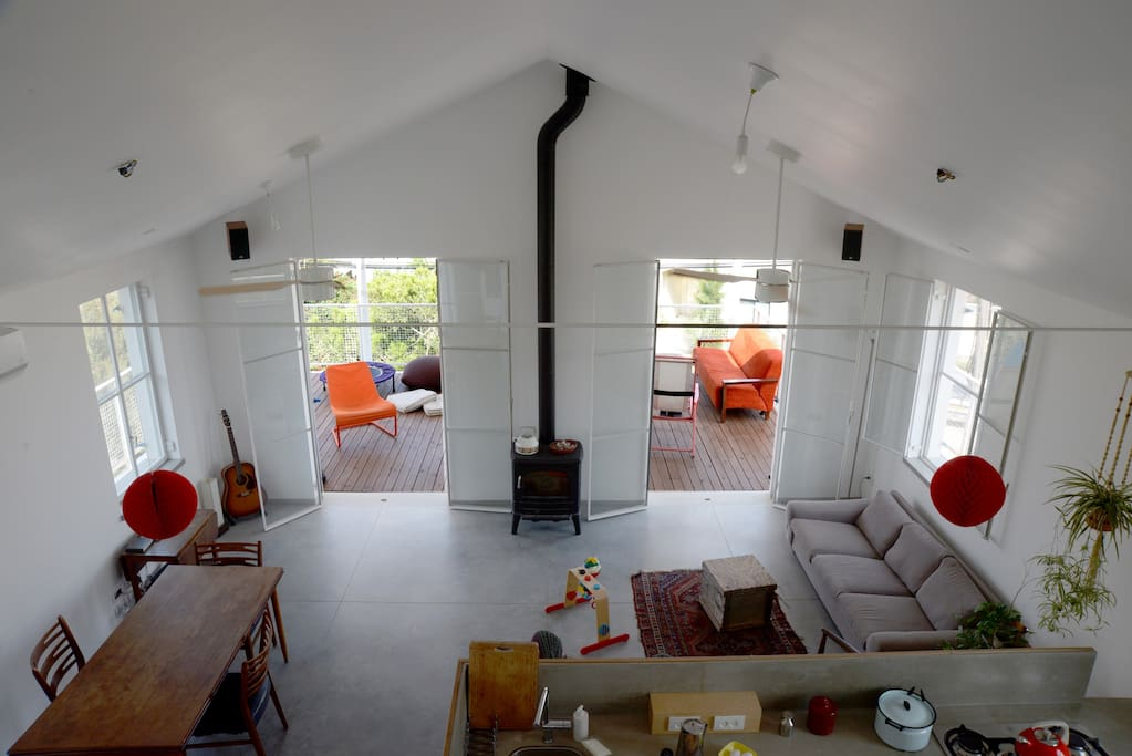 Kitchen, living room and dinning area. Photo from the attic